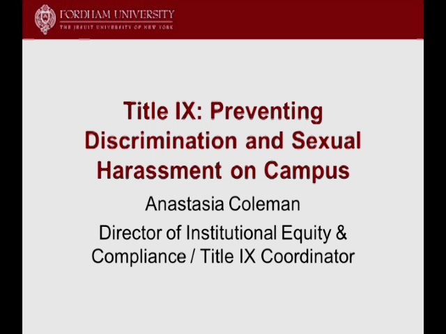 Orientation for Faculty Title IX: Mandatory Reporting Obligations