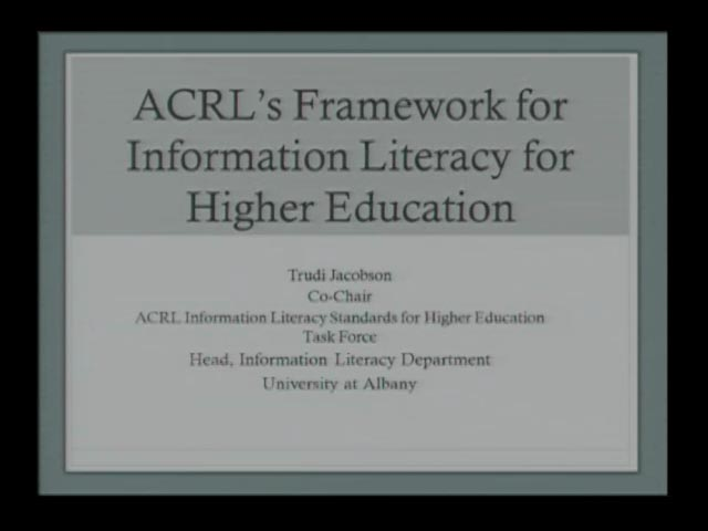 ACRL Information Literacy Framework for Higher Education