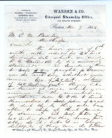Letter to C.M. Bailey by Warren & Co. on Nov. 7, 1865 from Boston, MA