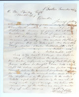 Letter to C.M. Bailey on Nov. 24, 1865 from Boston, MA