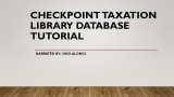 Checkpoint taxation library database tutorial